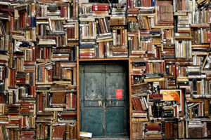 wall of books with door inside it.
