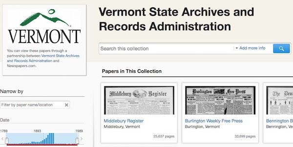 Screenshot from Vermont State Archives and Records Administration website