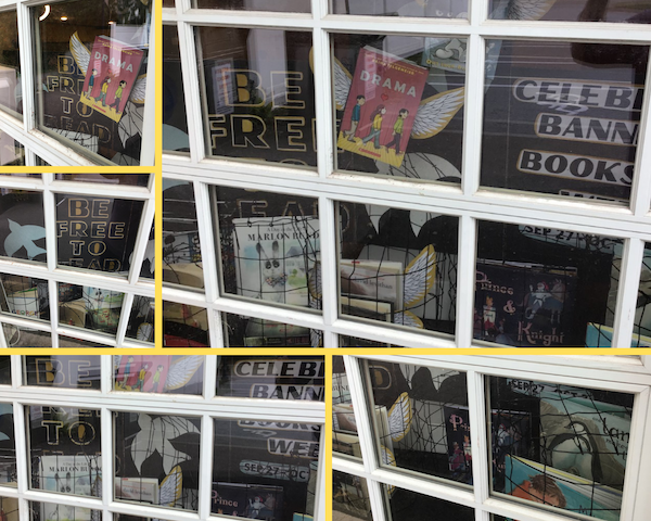 the winning entry from Essex Free Library showing books behind bars and otherwise inaccessible