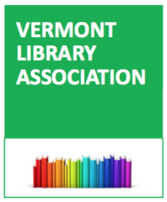 vermont library association logo with rainbow colored books